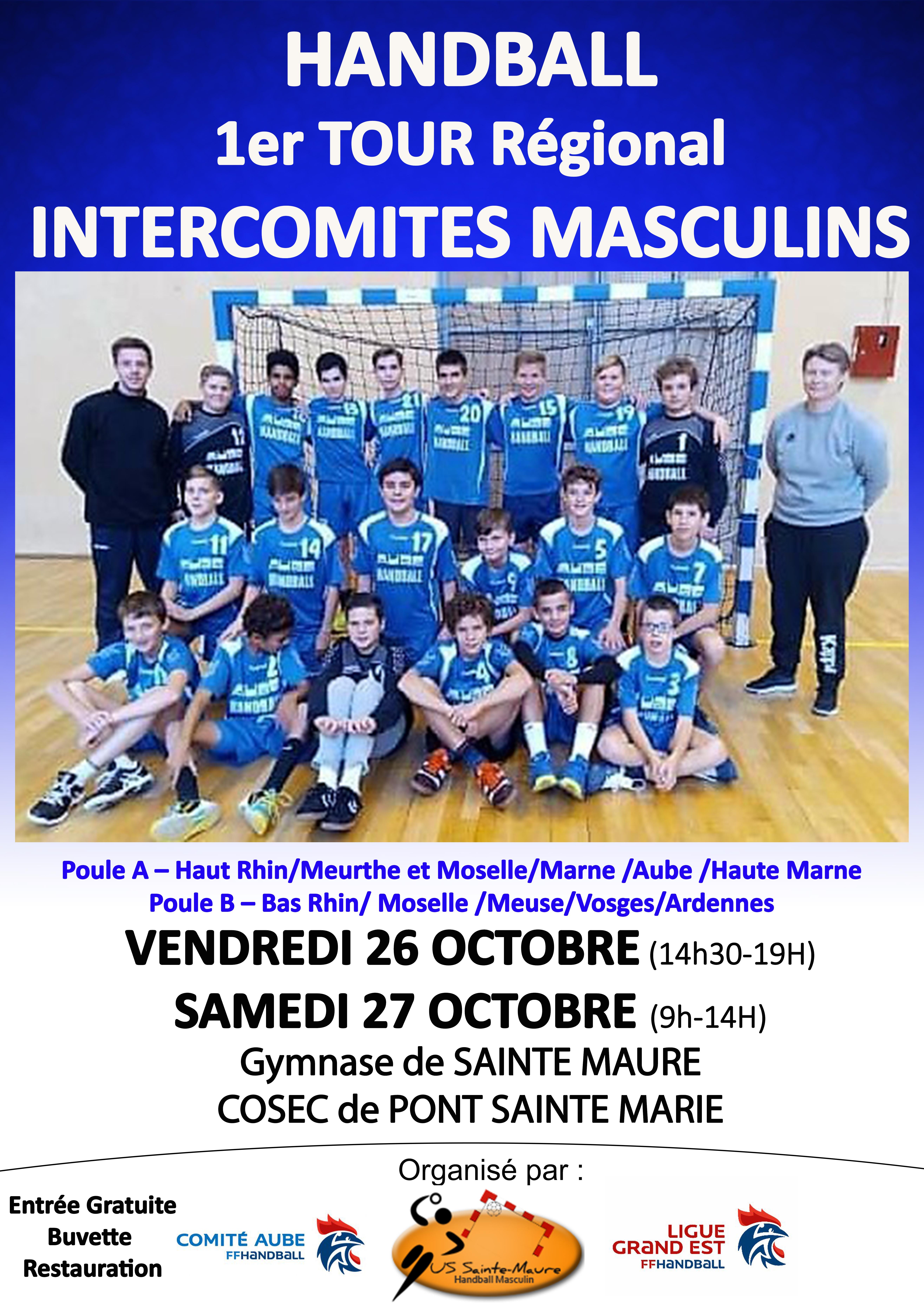 Inter Comités Masculins - 1er Tour Régional : 26 & 27 octobre 2018