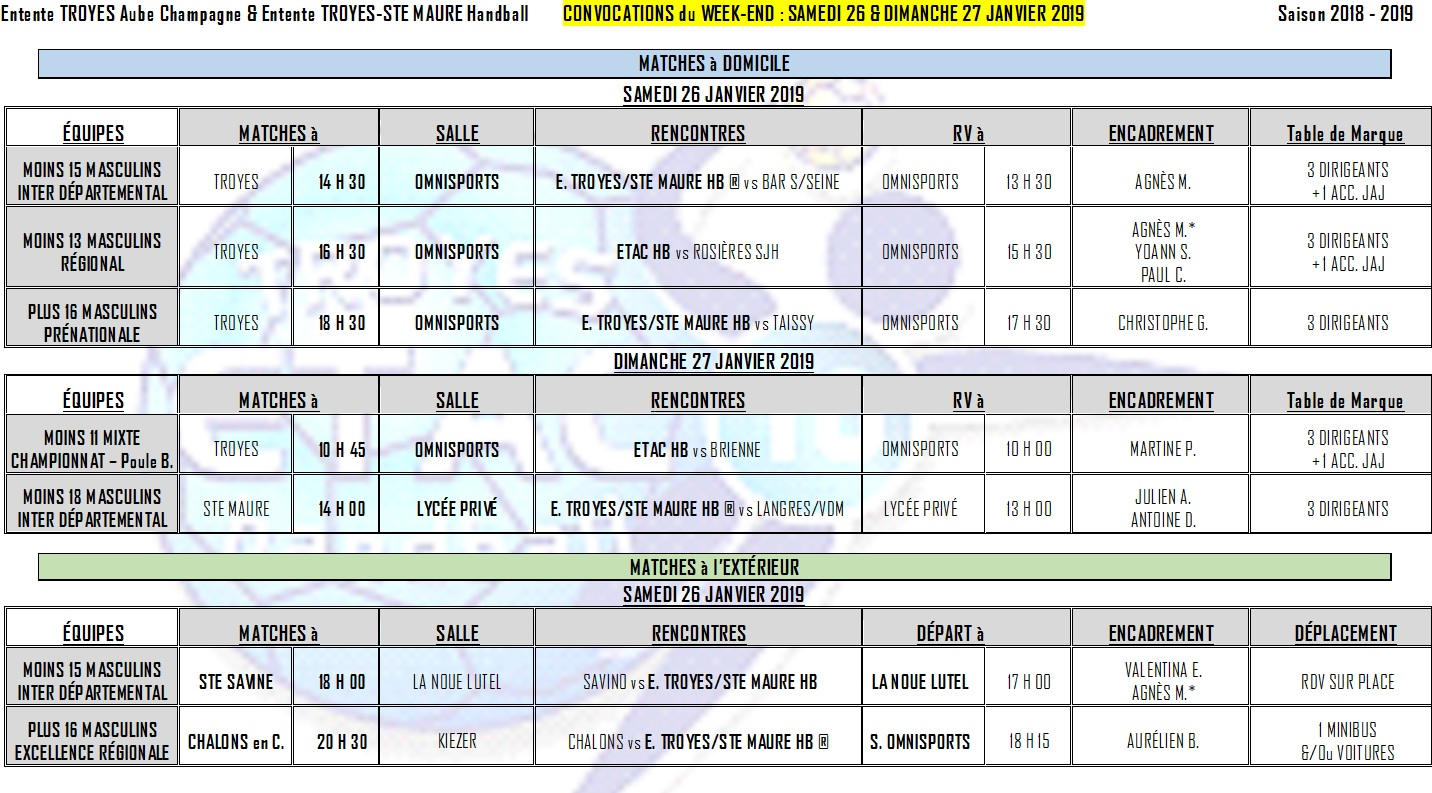 Convocations du Week-End - 26 & 27 janvier 2019