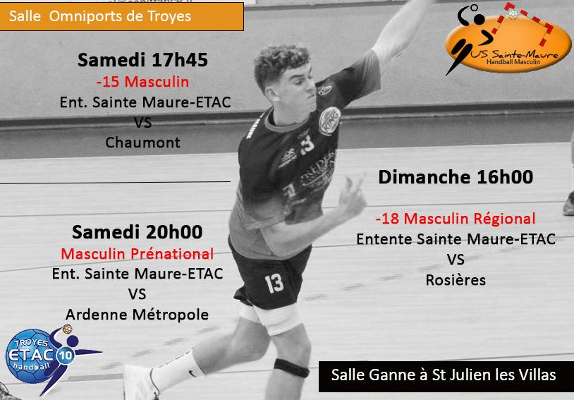 Matches : Entente TROYES-STE MAURE du 02 & 03 mars 2019