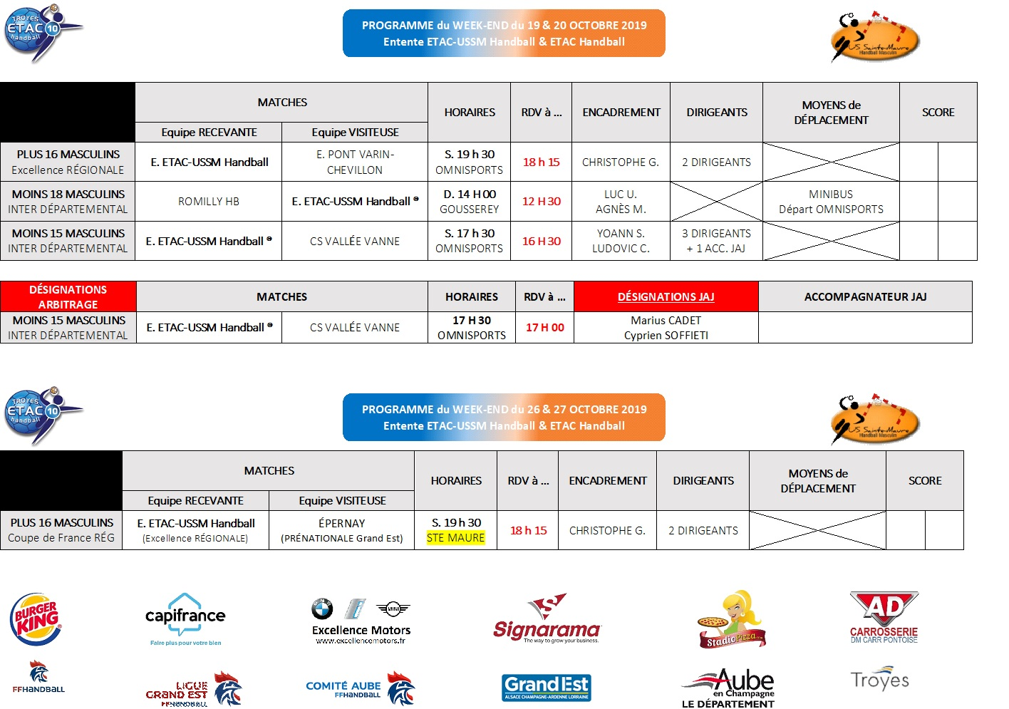 Programme du Week-End : 19 & 20 octobre 2019