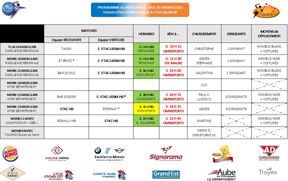 Programme du Week-End : 18 & 19 janvier 2020