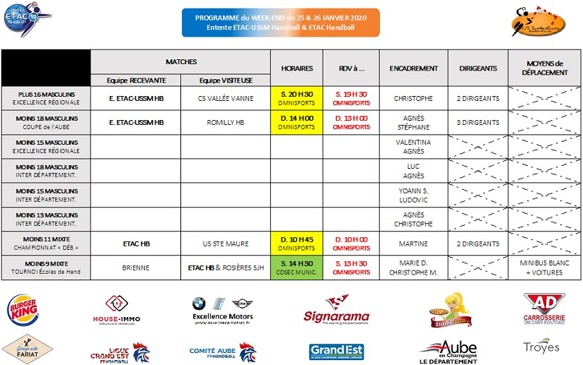 Programme du Week-End : 25 & 26 janvier 2020