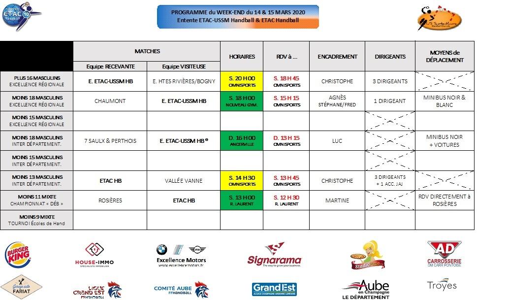 Programme du Week-End : 14 & 15 mars 2020