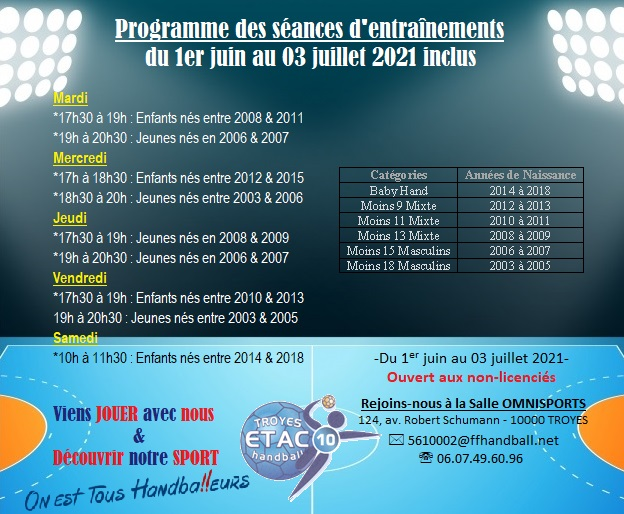 ⏰ INFO : Programme des entrainements du 01/06 au 03/07/2021